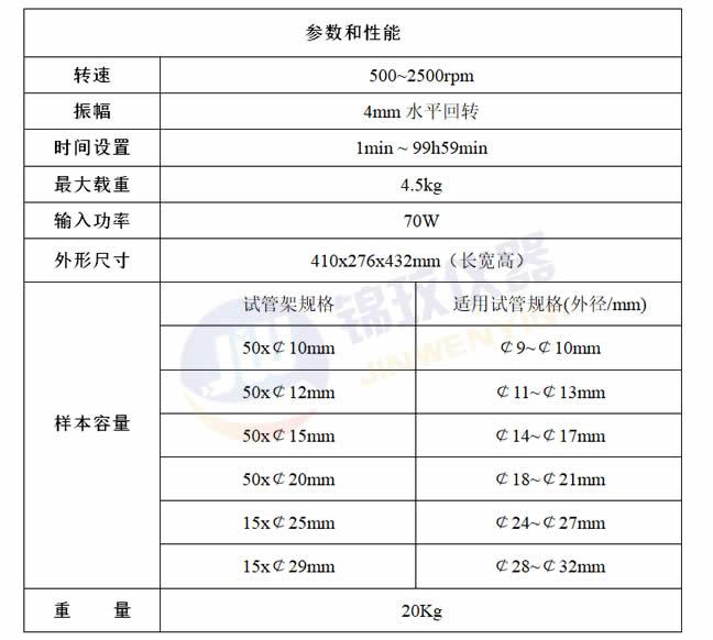 上海錦玟多管漩渦混合儀參數