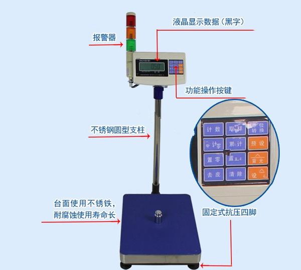 报警电子称湖南长沙300kg自动检重台秤
