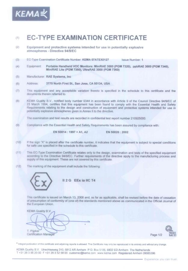 PGM-7340 ATEX证书